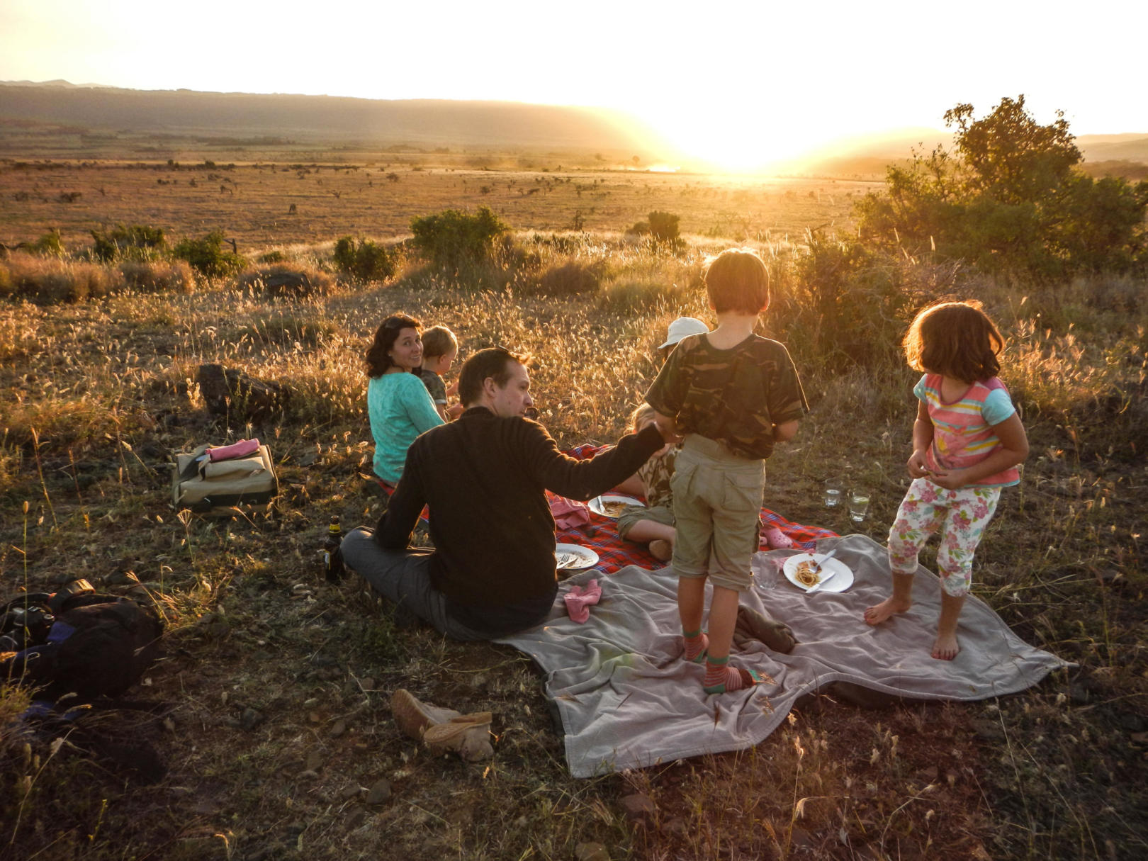 A kids picnic on safari