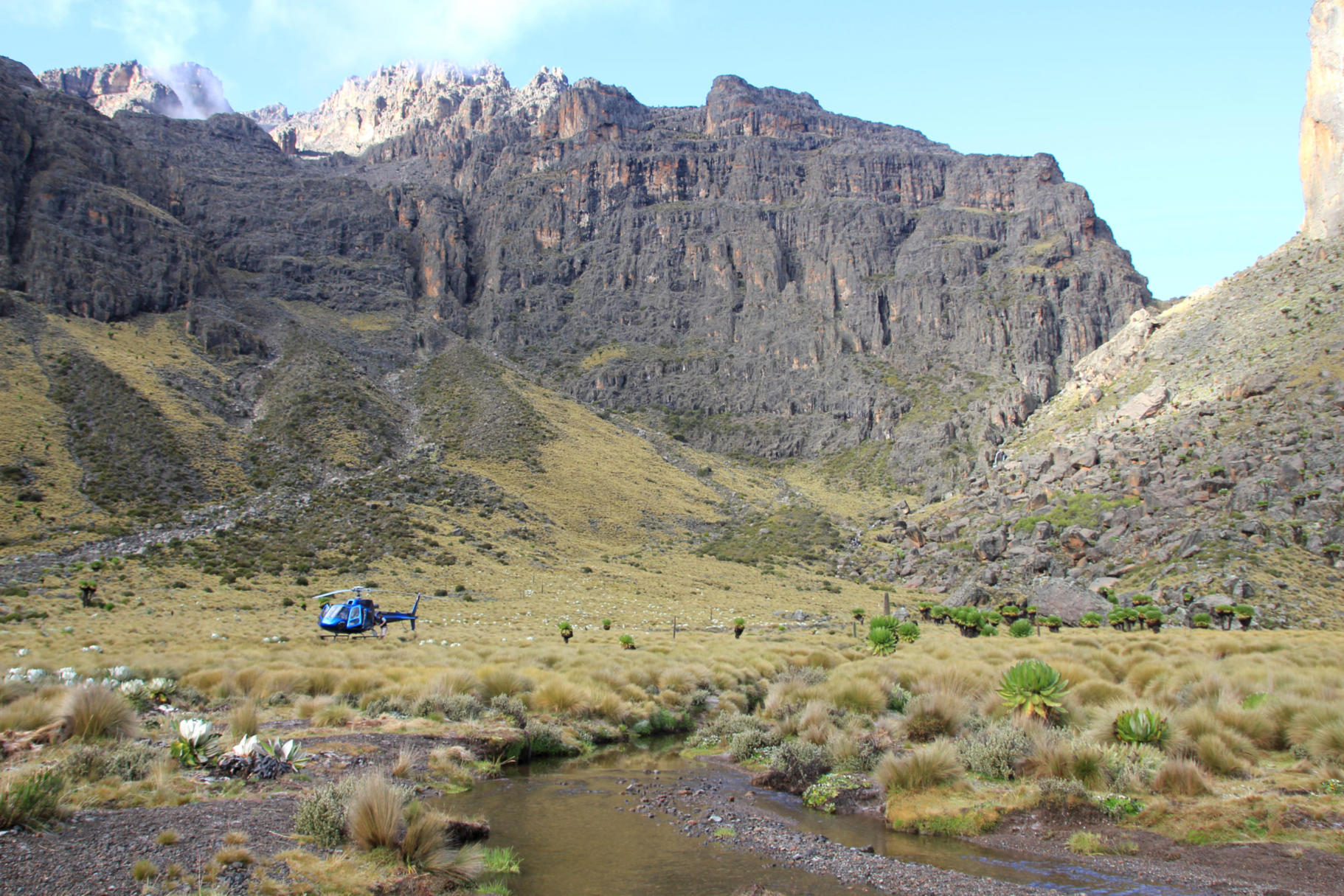 Helicopter in a valley on Mt Kenya